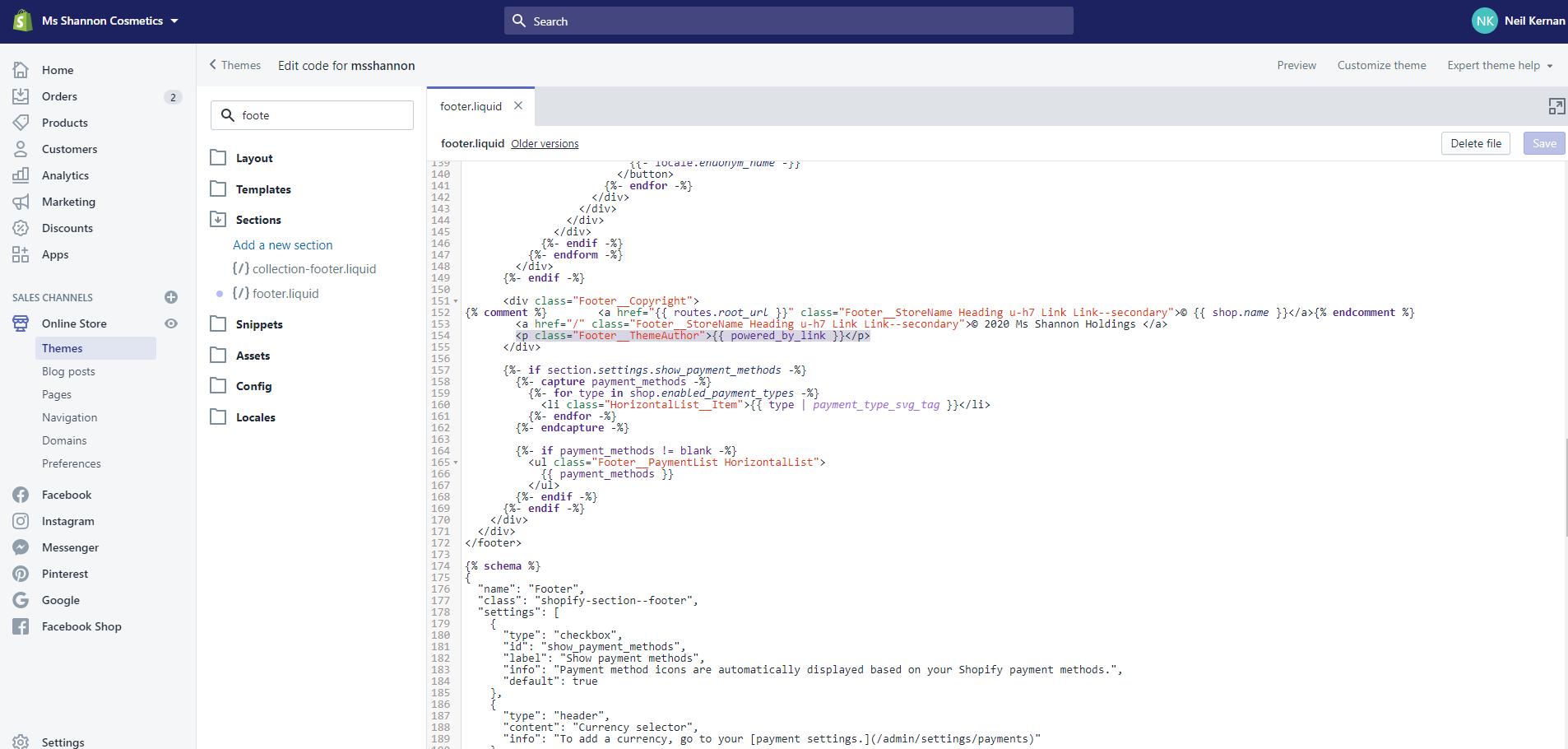 Shopify verwijder lijn met code